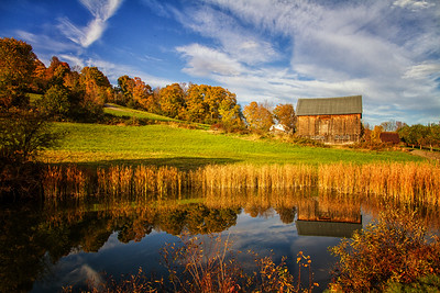 Old barn near Sharon NH 10-12-15 fall reflection