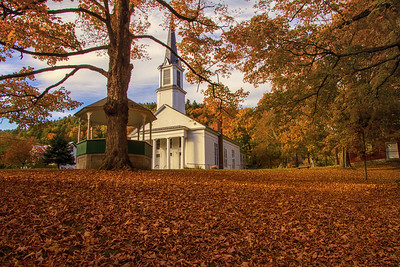 First Congregational Church Sharon VT landscape leaves foreground fall background 10-12-15