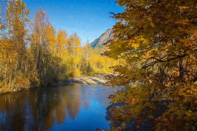 North Fork Reflection Trees Monet Impression Fall