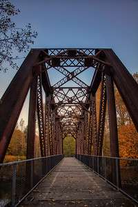 Snoqulamie Trail Ped Bridge Portrait Fall Color