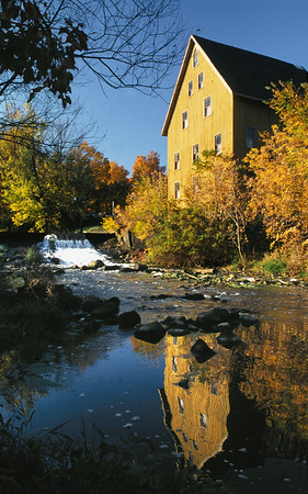 Old Bellevue Mill in full Fall Colors - Bellevue, Michigan