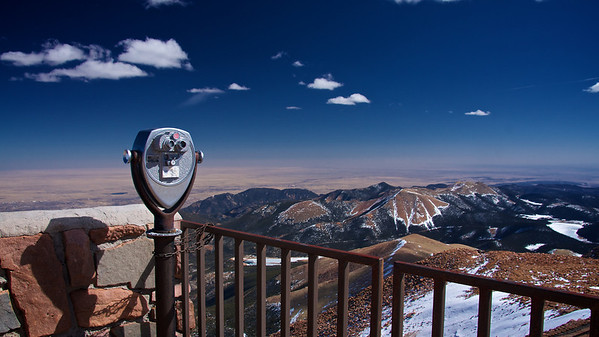 Looking east over the great plains from Pikes Peak, Colorado.