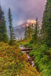 Foggy Mt. Rainier Sunrise