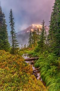 Foggy Mt. Rainier Sunrise