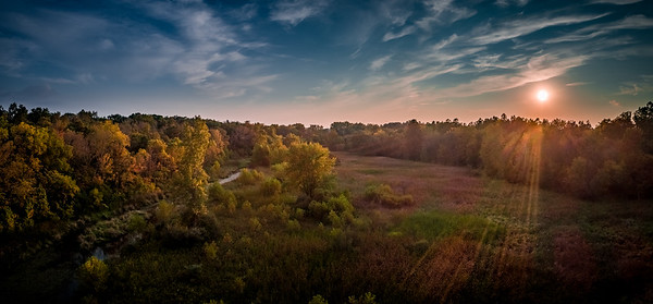 Fall Sunset Panorama in Wetlands