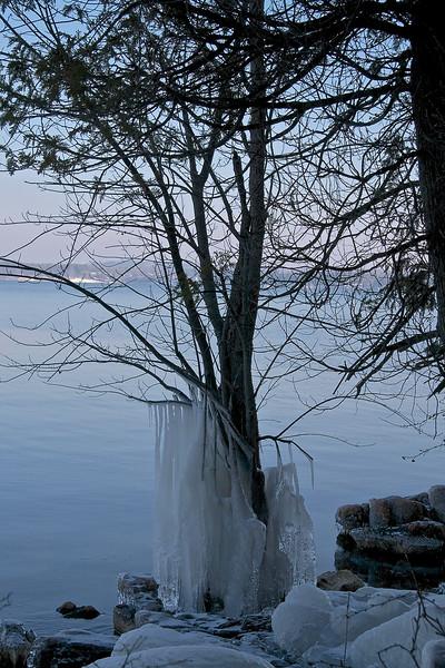 ice on the shore, Lake Champlain, VT