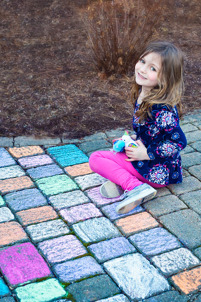 We wanted to color your sidewalk but had to quit when we ran out of chalk.  Who knew those stone would eat up big pieces of chalk to fast.