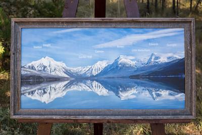 Lake McDonald Peak ID-16x32 Canvas-2-inch Barnwood Frame