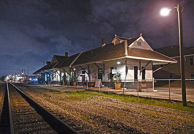 Night shot of the Train Depot in Pascagoula, Ms.