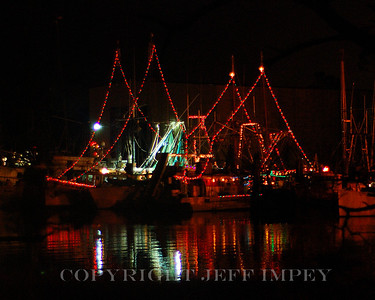 Shrimp Boats docked in Ocean Springs harbor after the first Christmas boat parade.