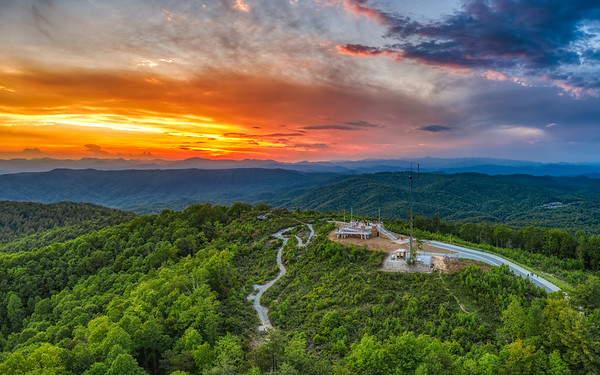 Sunset over Sassafras Mountain Overlook
