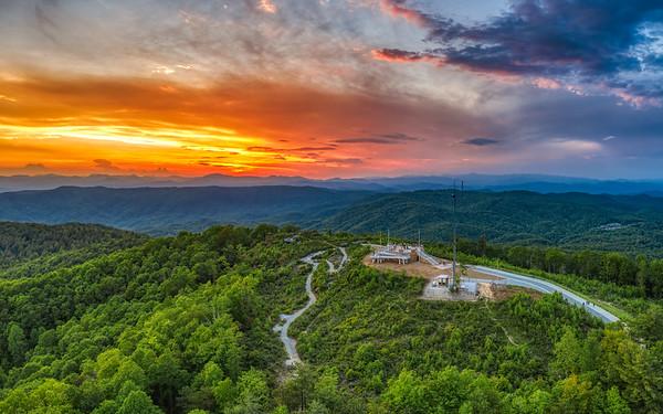 Sunset over Sassafras Mountain Overlook