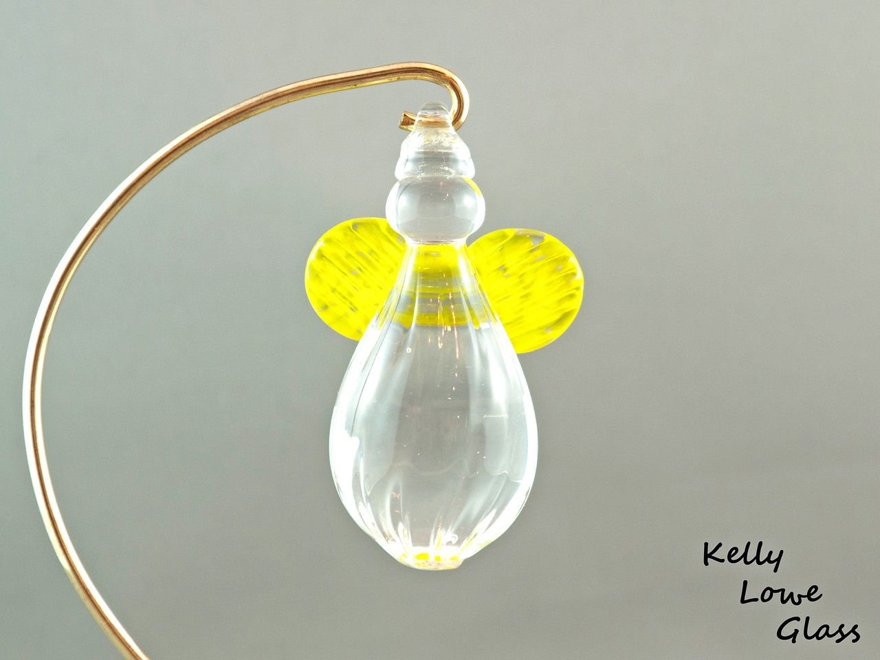 Hanging Glass Angel - Yellow