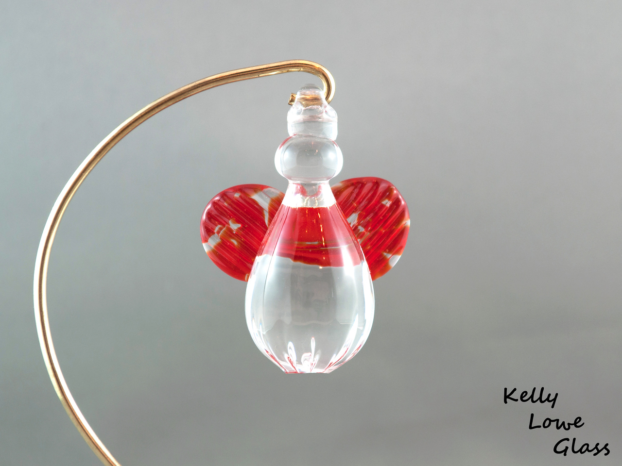Hanging Glass Angel - Red