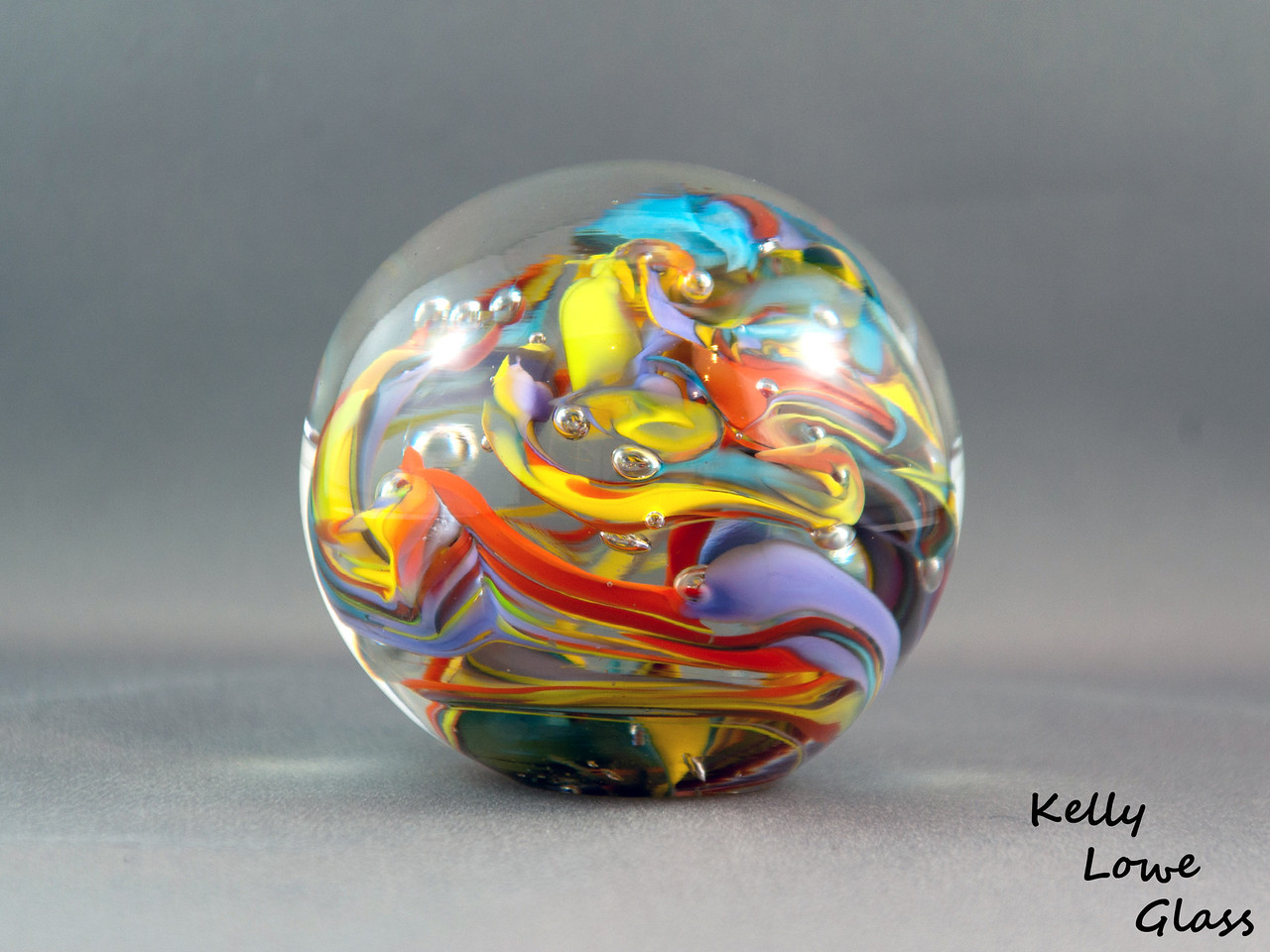 "Glass Paperweight:  Widest Point: 8.5cm (3.35"") Height: 7.5cm (2.95"") Weight: Approx 772g (1.7 lbs)  (This particular paperweight has sold, and is left here as an example piece)"