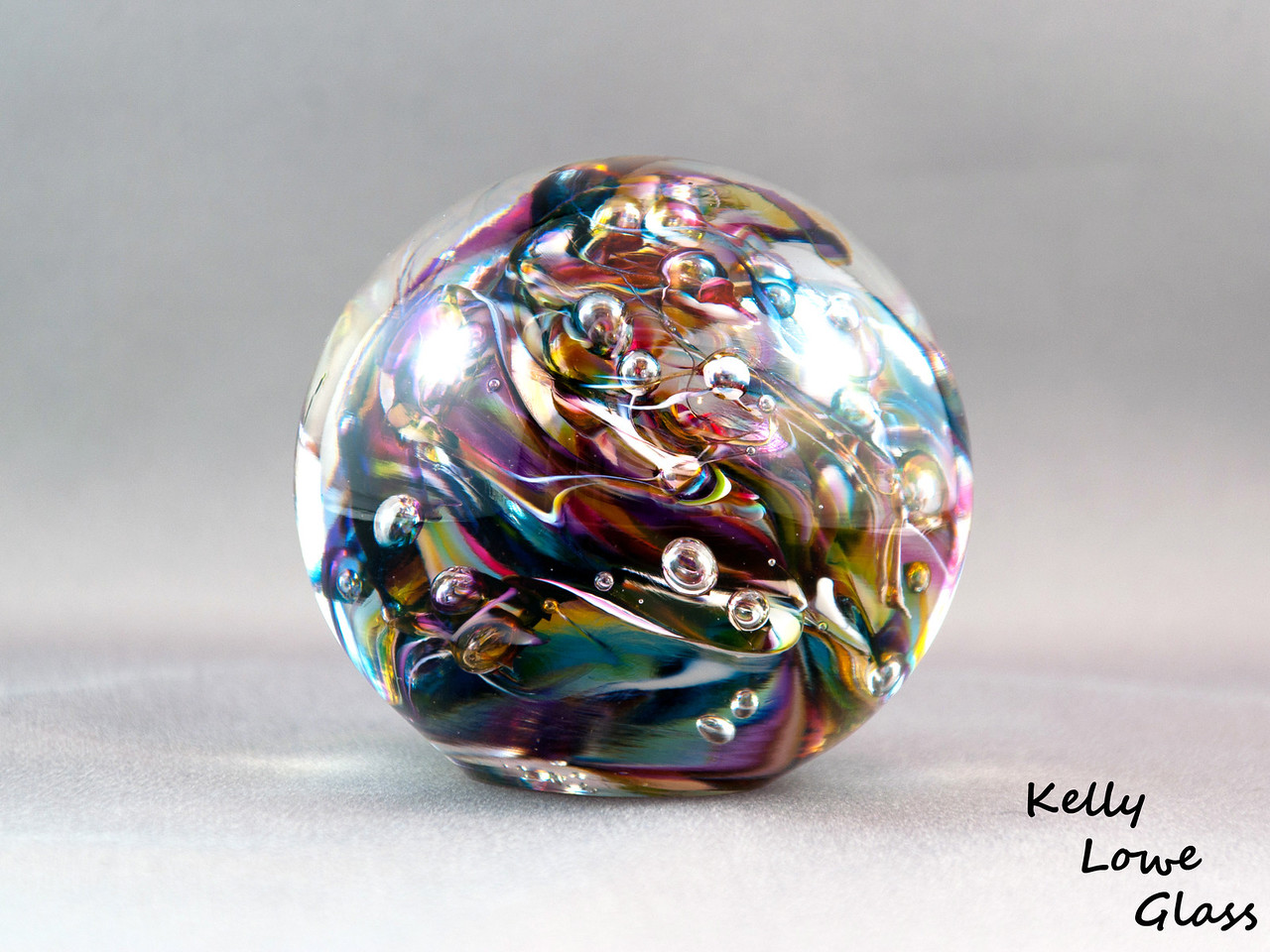 """Glass Paperweight:  Widest Point: 8.5cm (3.35"""") Height: 7.5cm (2.95"""") Weight: Approx 772g (1.7 lbs)"""