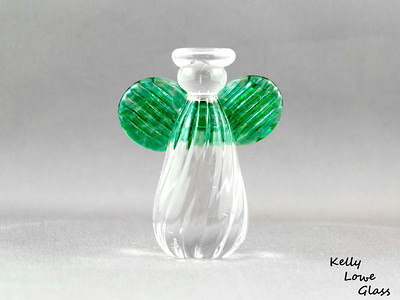 Small Angel - Green:  Height: Approx 7.5cm Across the Wings: Approx 6cm Depth: Approx 3.5cm Weight: Approx 134g.  Please note: as each piece begins its life as molten glass and is blown/sculpted by hand into the final product, individual pieces might have slight variations in size and/or appearance. Please rest assured however that the standard of quality is quite high, and no substandard pieces will be sold.