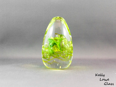 Teardrop Paperweight - Medium - Lime Green:  Widest Point: Approx 5cm Height: Approx 10cm Weight: Approx 420g.  The pictures included here are of the specific piece for sale.