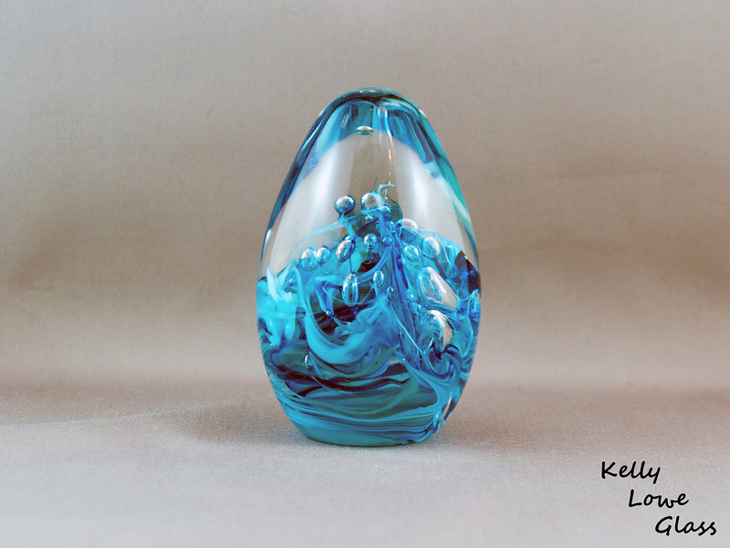 Teardrop Paperweight - Large - Blue:  Widest Point: 6.5cm Height: 12cm Weight: Approx 685g.  The pictures included here are of the specific piece for sale.