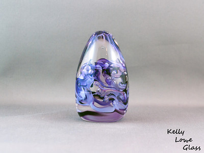 Teardrop Paperweight - Medium - Purple:  Widest Point: Approx 5cm Height: Approx 10cm Weight: Approx 420g.  The pictures included here are of the specific piece for sale.