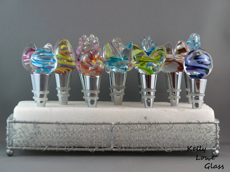Hand Sculpted Glass Wine Stoppers: