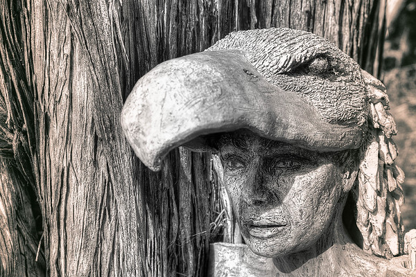 Crow Woman Sculpture in Avalon (sepia)