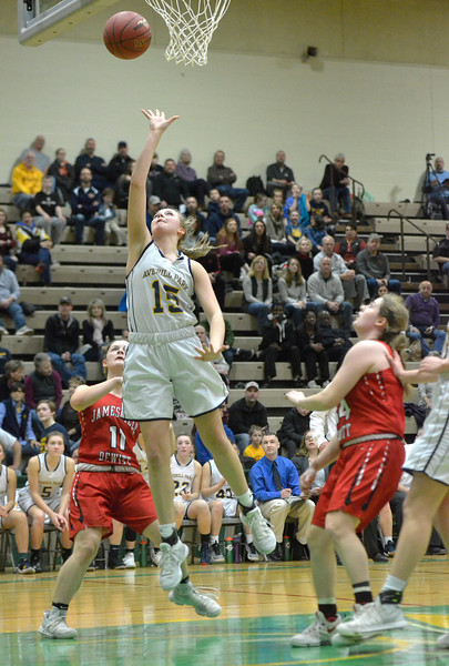 STAN HUDY - SHUDY@DIGITALFIRSTMEDIA.COM<br /> Averill Park's Amelia Wood drives the lane against Jamesville-DeWitt Saturday afternoon at Hudson Valley Community College during the NYSPHSAA Class A regional.