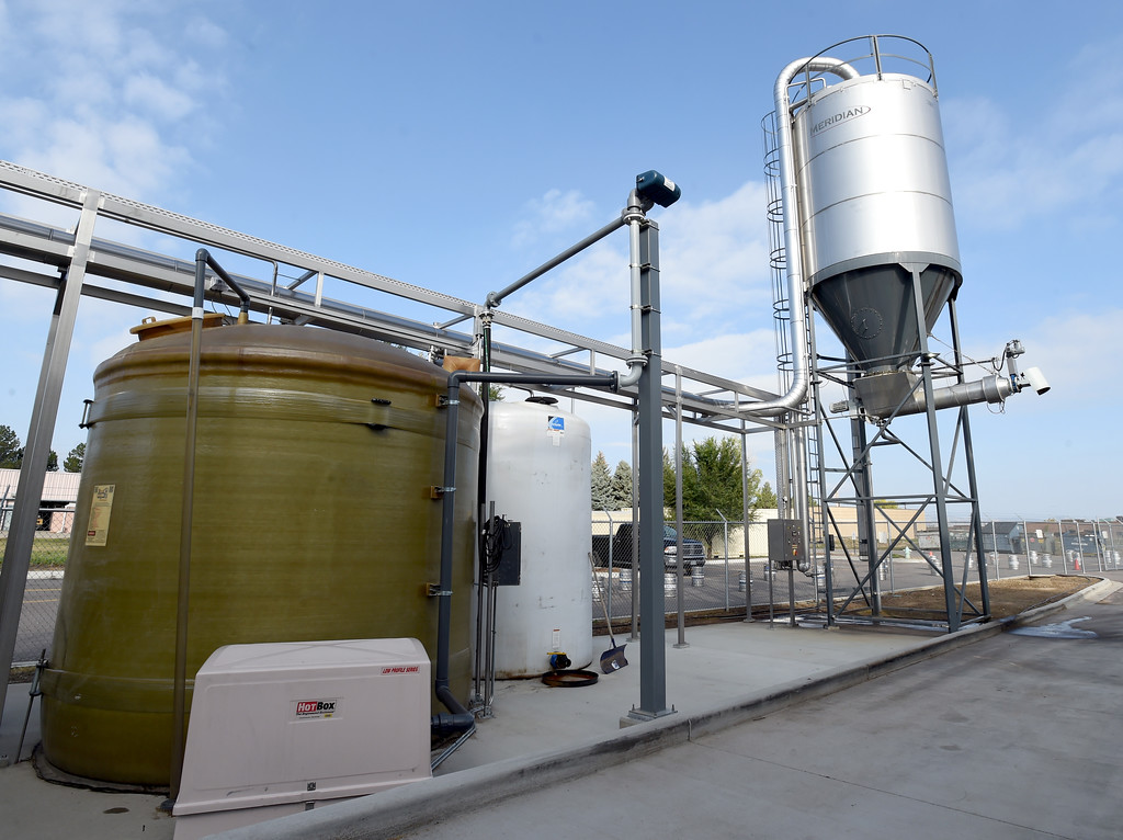 . The waste recovery tanks, the left one is for the water and the other for the grains, which are used for cattle feed. Beer Brewing activity at Avery Brewery in Boulder. Cliff Grassmick  Staff Photographer October 6, 2017