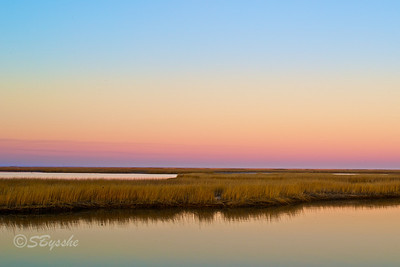 Marsh at sunset, Bombay Hook, Delaware