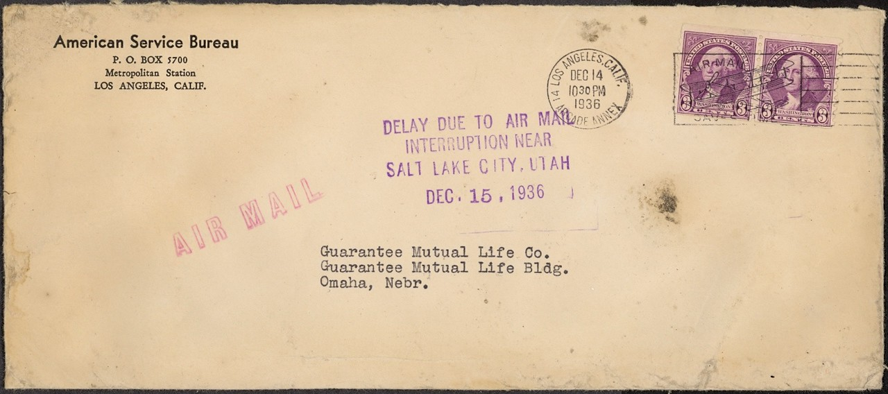 Another envelope postmarked in Los Angeles from the ill-fated Western Air Express Trip No. 6. (LostFlights Collection)
