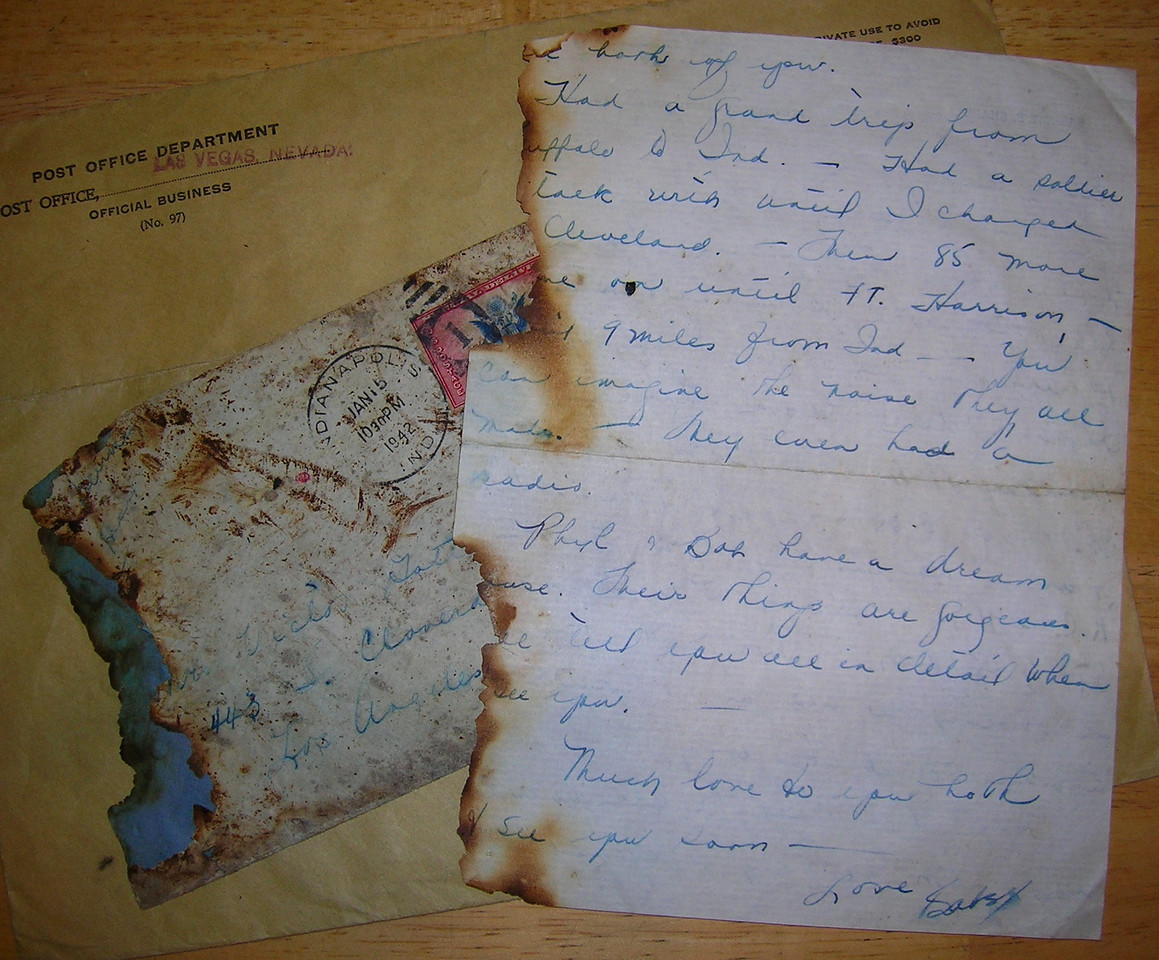 """The above crash cover included a partially burned letter and the postal service delivery envelope known unofficially as an """"Ambulance Cover"""" (LostFlights Collection)"""