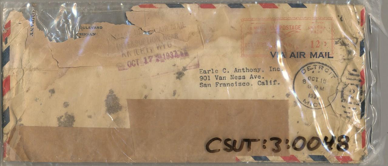 October 17, 1937<br /> United Air Lines, Inc.<br /> Douglas DC-3A (NC16074)<br /> Humpy Ridge, Utah
