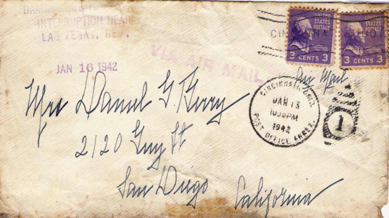 This recovered letter from TWA Flight 3 was postmarked on the evening of January 15th in Cinncinatti, Ohio and was picked up with other air mail during the flight's brief stop at this midwest city. (Thomas J. Richards Collection)