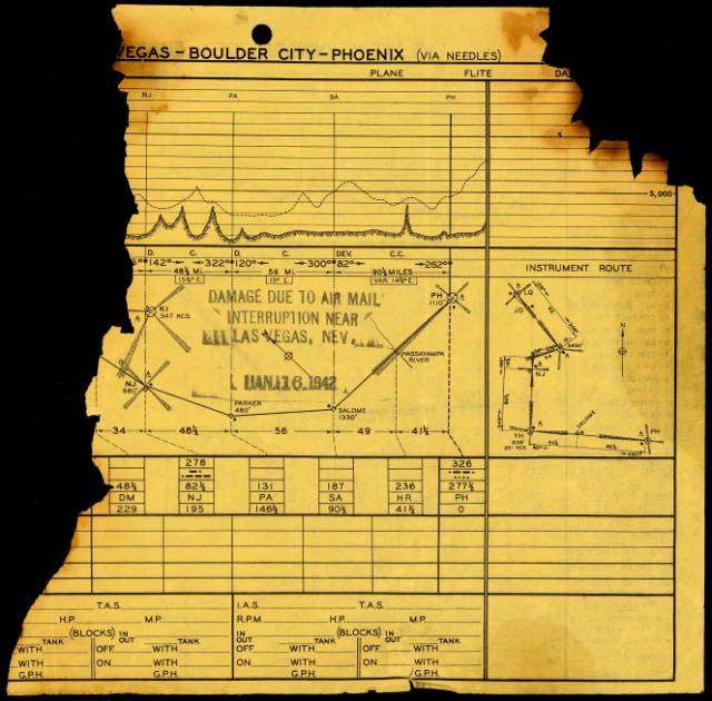 This burned fragment of a TWA route plan page was most likely picked up with recovered mail at the crash site and processed by the postal service as recovered air mail. <br /> <br /> Obviously not mail, but having it stamped as such makes it rare and worth the $1,700 recently paid at auction. (Courtesy of H.R. Harmers Auctions)