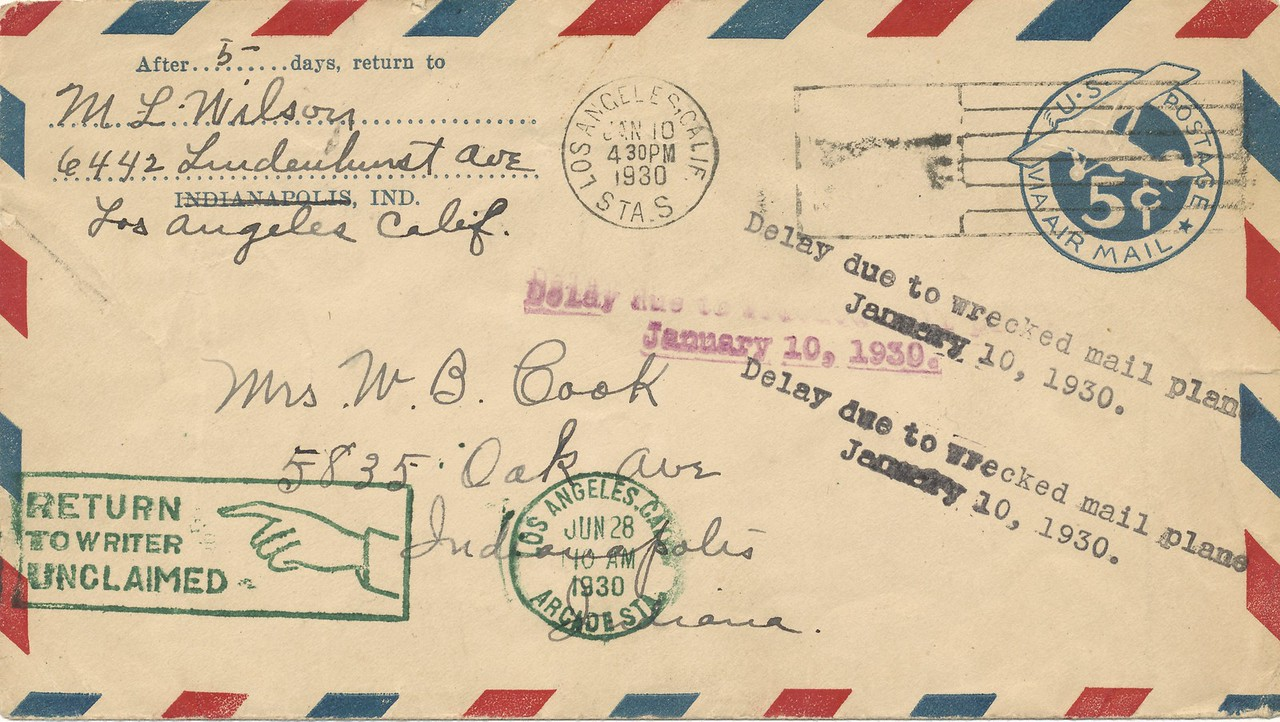 January 10, 1930<br /> Western Air Express, Corp.<br /> Contract Air Mail Route (CAM-4)<br /> Boeing 95 Mailplane (NC420E)<br /> Near Cedar City, Utah<br /> <br /> Weather was the major factor in a large number of early commercial aviation accidents as in the crash of Air Mail Pilot Maurice (Maury) Graham, who left Los Angeles on January 10, 1930 for Salt Lake City. <br /> <br /> The plane was finally found June 24, 1930, near Cedar City, Utah only after the snow melted. One month later the pilot's body was found, with the mail intact, six miles away from the crash site. Graham attempted to hike to safety in 8-foot snowdrifts and sadly fell to his death off an 800 foot cliff. (LostFlights Collection)