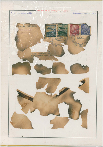 This fake Hindenburg cover, supposedly reduced to fragments from the disaster and age was placed in an auction in Holland before being discovered and removed from sale. (Unknown Collection)