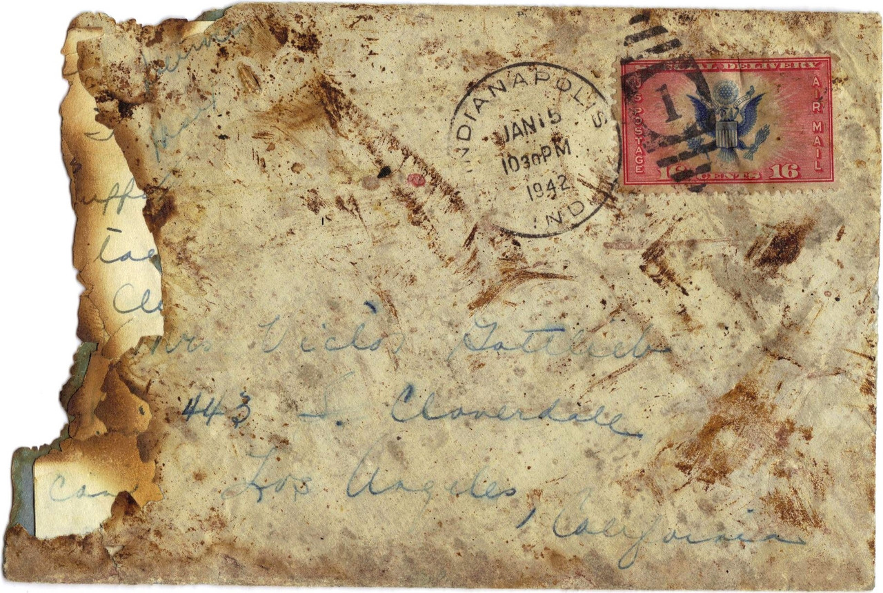 This Flight 3 cover was discovered at an estate sale by Vicky Nelson of Santa Clarita, California and was recently acquired by LostFlights. <br /> <br /> Postmarked on the evening of January 15, 1942 in Indianapolis, this cover is the only remaining piece of recovered air mail in known existence that originated at Carole Lombard's boarding point. (LostFlights Collection)
