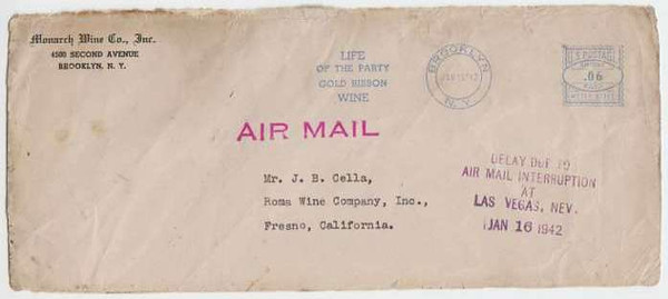 "Another Cover from Flight 3 with a ""DELAY"" postal stamp and it's origination post mark of Brooklyn, New York of January 15, 1942. New York City was the origination of TWA Flight 3's Transcontinental Route. (LostFlights Collection)"