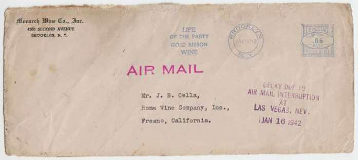 """Another Cover from Flight 3 with a """"DELAY"""" postal stamp and it's origination post mark of Brooklyn, New York of January 15, 1942. New York City was the origination of TWA Flight 3's Transcontinental Route. (LostFlights Collection)"""