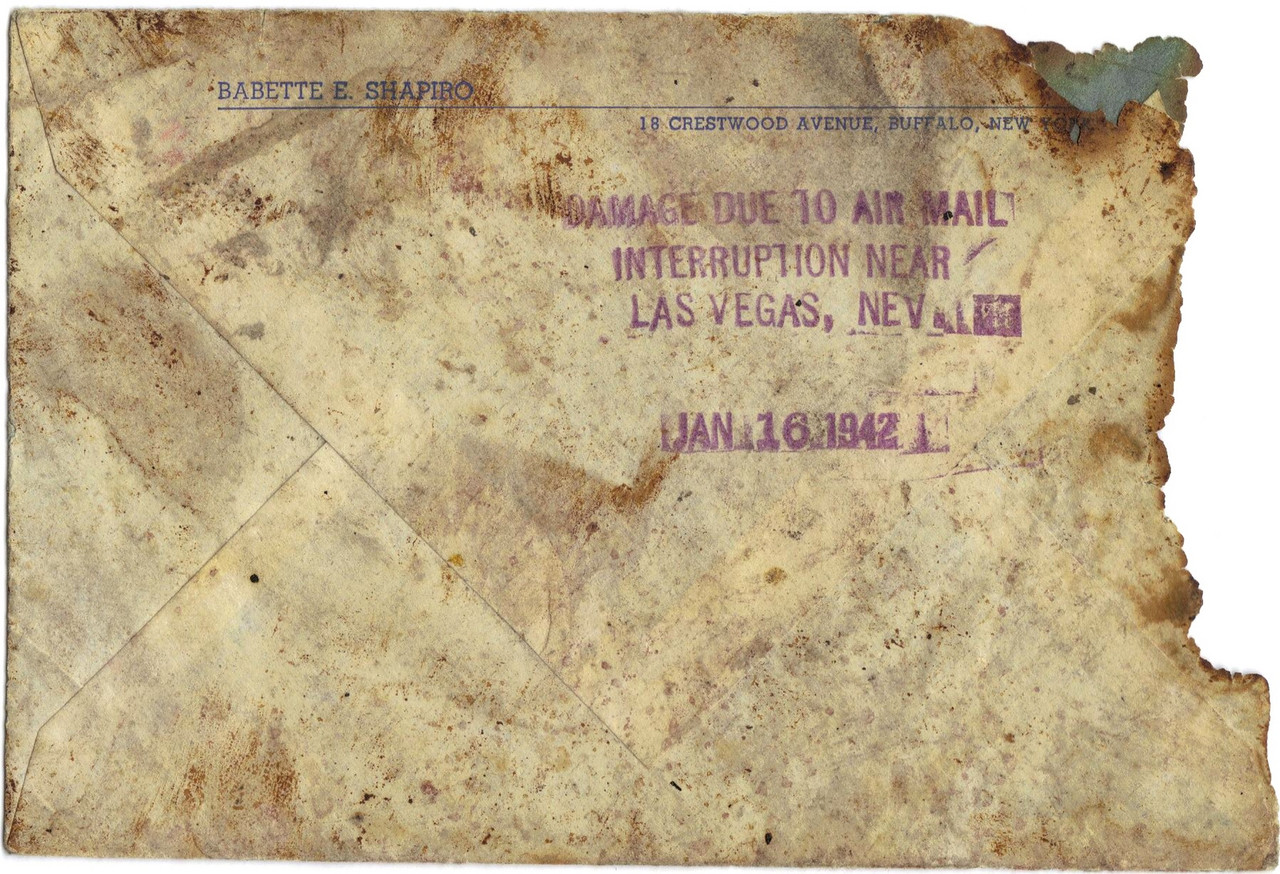 The U.S. Postal Service delay stamp on the back of the cover that denotes the mail was recovered from the TWA Flight 3 accident site. (LostFlights Collection)