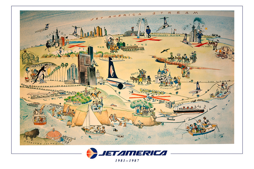 "<font color=""fffcc33"">16X24 POSTER SIZE.  </font><BR> <font color=""fffff""> Don't let the JET AMERICA spirit die! This beautiful poster commemorates our now gone, but never forgotten airline.  No matte needed, you can easily frame this in a standard 16x24 inch  frame. </font><   $49.00. Price includes shipping, handeling and insurance."