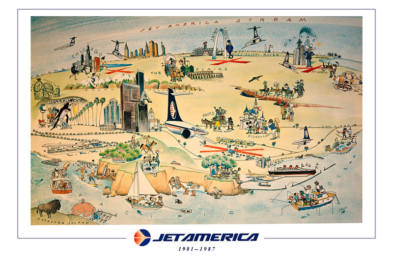 "<font color=""fffcc33"">24X36 POSTER SIZE.  </font><BR> <font color=""fffff"">Don't let the JET AMERICA spirit die! This beautiful poster commemorates our now gone, but never forgotten airline.  If you have the wall space, this is the BEST way to go! No matte needed, you can easily frame this in a standard size 24x36 ""movie poster"" frame size.  </font><BR> $69.00. Price includes shipping, handeling and insurance."
