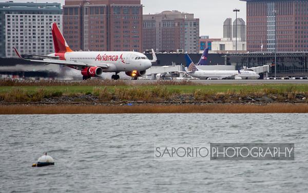 Avianca A319 landing in Boston