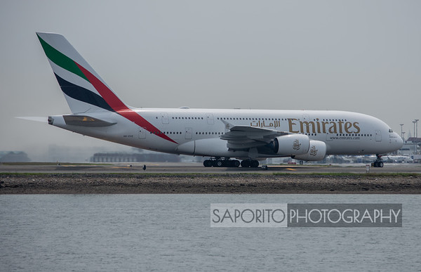 Emirates A-380's Boston Debut