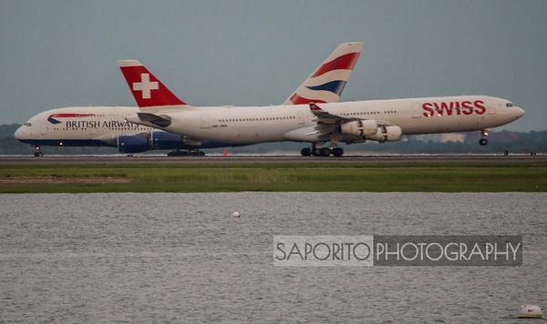 Swiss A340 landing in front of Speedbird A380