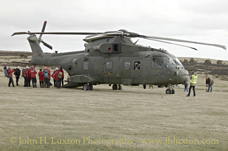 846 Naval Air Squadron AgustaWestland AW101 at Pork Hill, Dartmoor - April 07, 2016