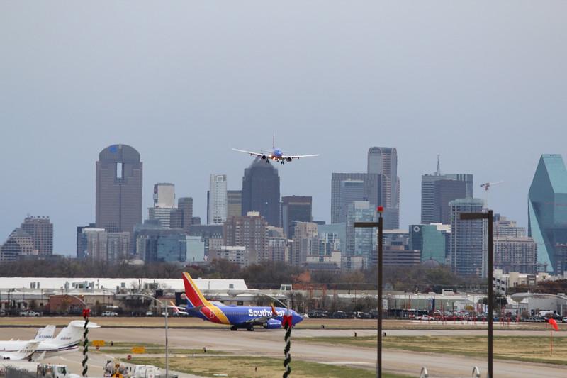 Dallas Skyline from Love Field Runway 31L