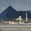 Las Vegas Luxor Hotel and Sheep mountain range from Staff Car Park (Level 6 - above Terminal 1)