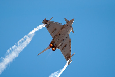 The Eurofighter displaying extreme maneuverability.