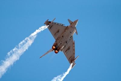 The Eurofighter displaying extreme maneuverability.